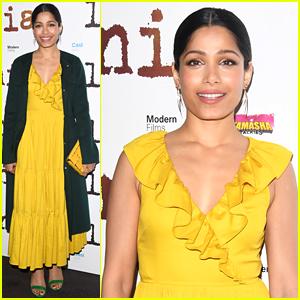 Freida Pinto Dons Bright Yellow Dress at 'Love Sonia' UK Premiere