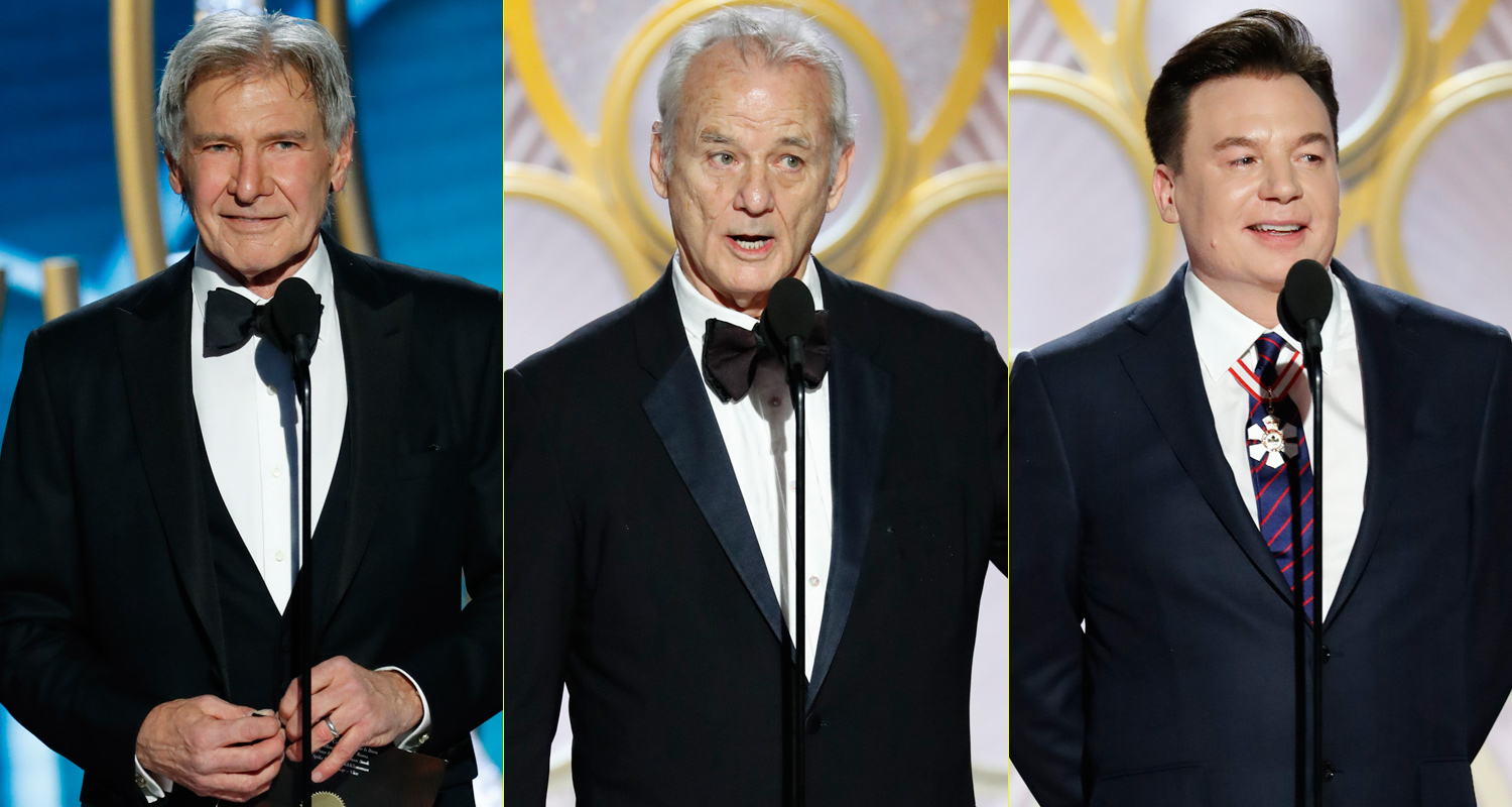 Harrison Ford, Bill Murray & Mike Myers Take the Stage at ...  Bill Murray 2017 Golden Globes