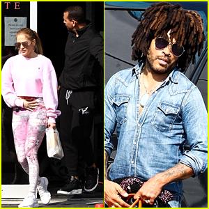 Jennifer Lopez & Alex Rodriguez Get In a Workout with Lenny Kravitz!