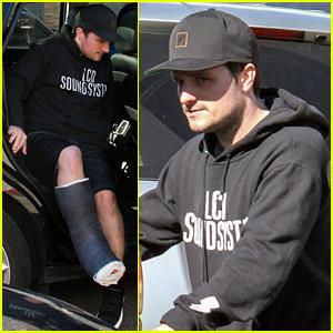 Josh Hutcherson Makes a Coffee Run on His Injured Leg