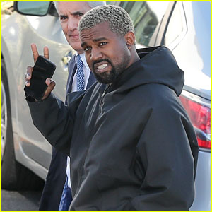 Kanye West Is in Good Spirits While Heading to the Studio in LA