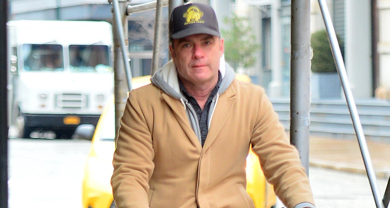 Liev Schreiber Bundles Up For a Bike Ride in New York City ...