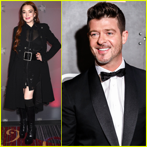 Lindsay Lohan & Robin Thicke Attend Marriott Marquis' New Year's Eve Party!