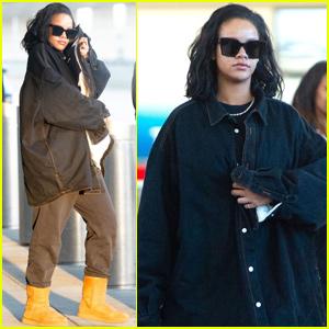 61fd5544702 Rihanna Rocks Double Denim While Arriving in New York City | Rihanna ...