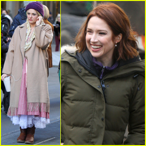 Drew Barrymore & Ellie Kemper Film 'The Stand In' in NYC