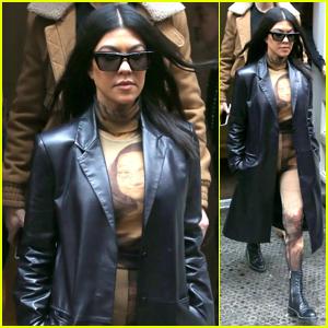 Kourtney Kardashian Wears a Mona Lisa Catsuit in New York City