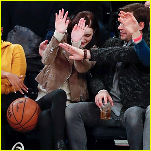 Rachel Brosnahan Gets Hit By Stray Basketball at Knicks Game
