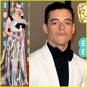 Rami Malek & Lucy Boynton Walk BAFTAs 2019 Red Carpet Separately