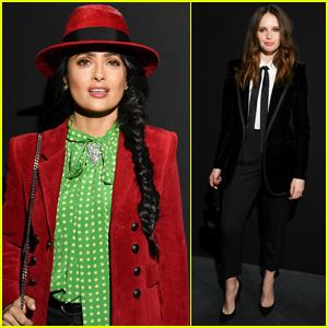 Salma Hayek Joins Felicity Jones at Saint Laurent Show in Paris