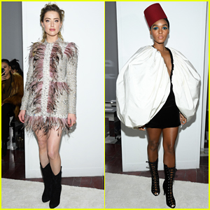 Amber Heard & Janelle Monae Buddy Up at Giambattista Valli Paris Fashion Show!