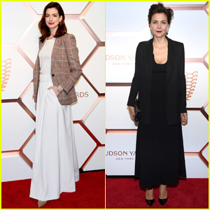 Anne Hathaway & Maggie Gyllenhaal Step Out for Hudson Yards Grand Opening
