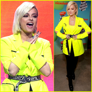 Bebe Rexha Sports Neon Outfit for Kids' Choice Awards 2019