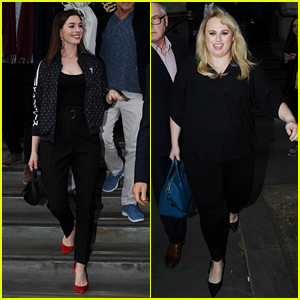 Anne Hathaway & Rebel Wilson Head Out While Promoting 'The Hustle' in London