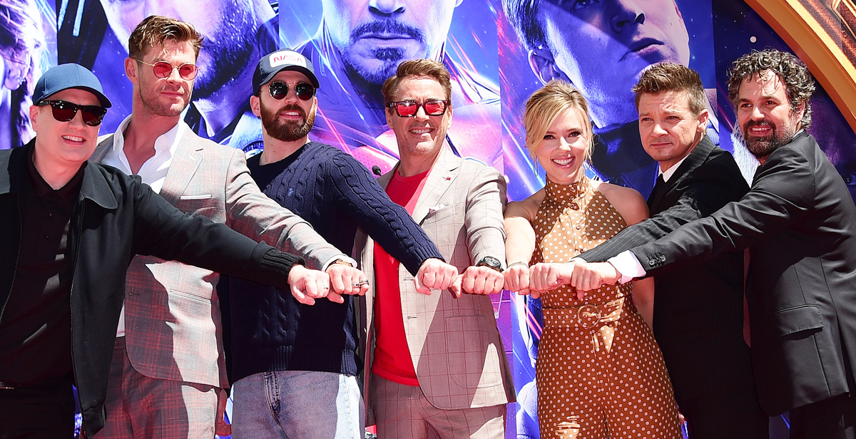 Kevin Feige, Chris Hemsworth, Chris Evans, Robert Downey Jr., Scarlett Johansson, Jeremy Renner y Mark Ruffalo