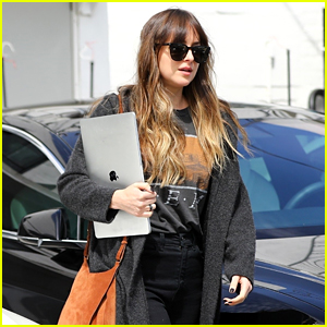 Dakota Johnson Leaves the Salon with Her Laptop in Hand