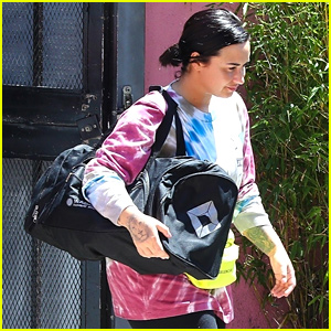 Demi Lovato Hits Boxing Gym in Colorful Tie-Dye T-Shirt