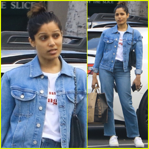 Freida Pinto Goes Fresh-Faced for Afternoon Outing