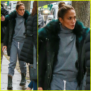 Jennifer Lopez Bundles Up For Rainy Day on 'Hustlers' Set