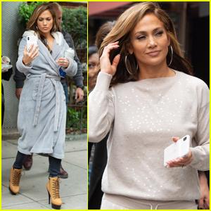 Jennifer Lopez Snaps a Selfie on 'Hustlers' Set in NYC