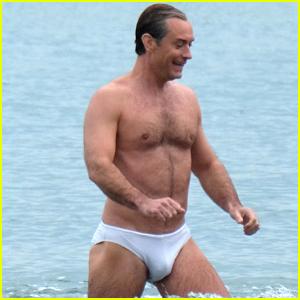 Jude Law Swims in His Speedo for 'New Pope' Beach Scene