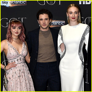 Kit Harington, Sophie Turner, & Maisie Williams Step Out for Final 'GOT' Season 8 Premiere