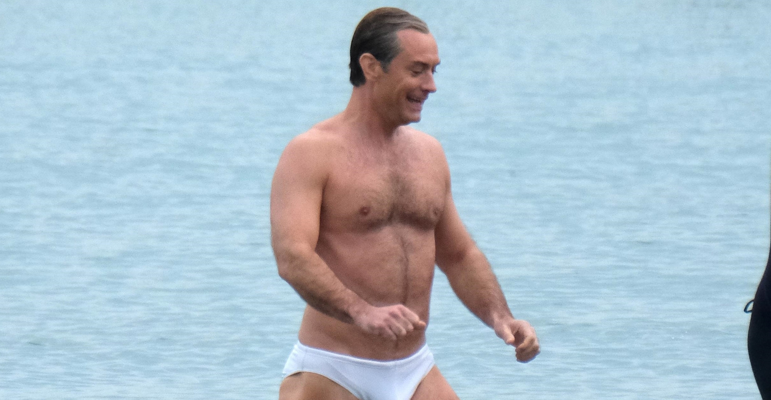 Jude Law Swims in His Speedo for 'New Pope' Beach Scene | Jude Law, Shirtless, Speedo | Just Jared