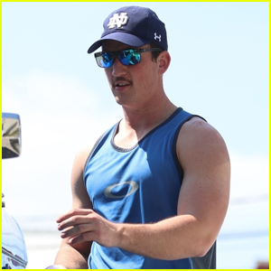 Miles Teller Bares Buff Biceps at the Gym in WeHo!