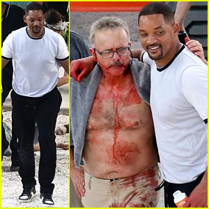 Will Smith Hugs a Bloody & Shirtless Joe Pantoliano on 'Bad Boys for Life' Set