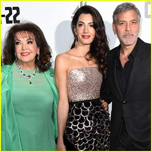 George & Amal Clooney Bring Her Mom Baria to 'Catch 22' Premiere!