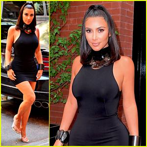 Kim Kardashian Shows Off Her Curves in Form-Fitting Mini Dress