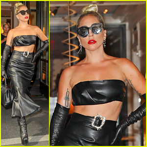 Lady Gaga Is Fierce in a Leather Look En Route to the Apollo