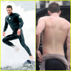 Liam Hemsworth Strips Out of His Wetsuit After a Surf Session