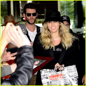 Miley Cyrus & Liam Hemsworth Swarmed By Fans in Poland