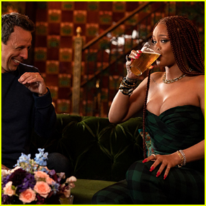 Rihanna Films Day Drinking Segment With Seth Meyers for 'Late Night'