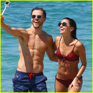 Shirtless Derek Hough Hits the Beach with Girlfriend Hayley Erbert in Cannes!
