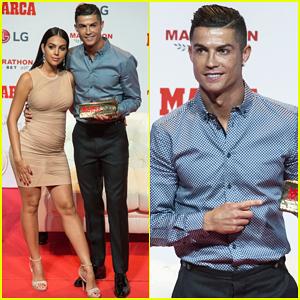 Cristiano Ronaldo Gets Support From Georgina Rodriguez At Marca Leyenda Award Honor Cristiano Ronaldo Georgina Rodriguez Just Jared