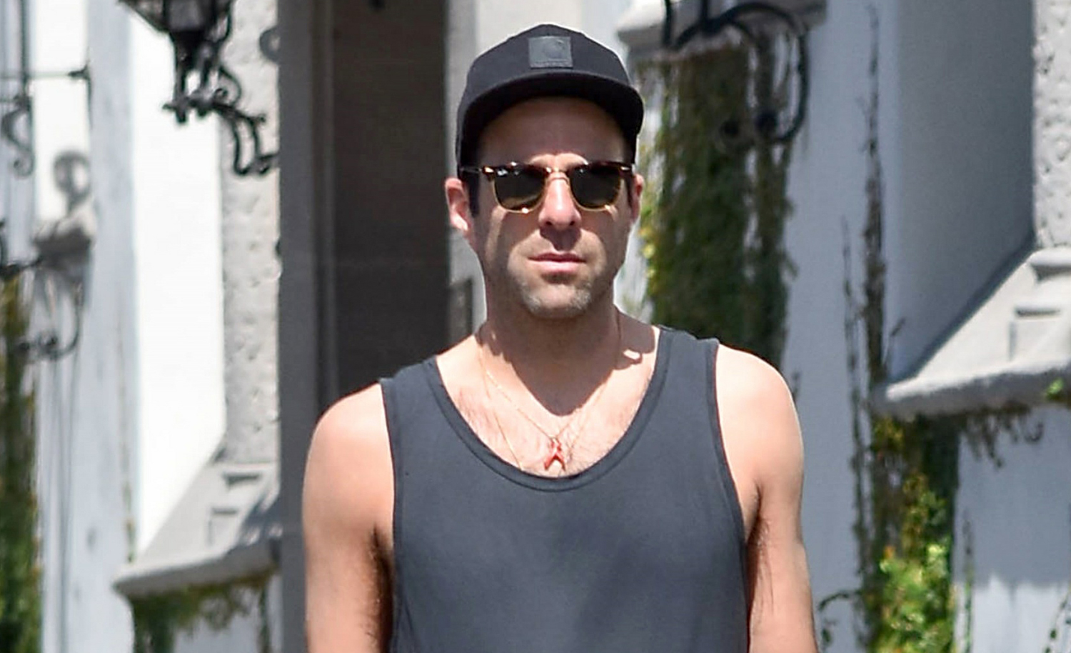 Zachary Quinto Takes His Dog For A Walk In L A Zachary
