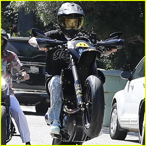 Justin Bieber Pops a Wheelie During Motorcycle Ride!