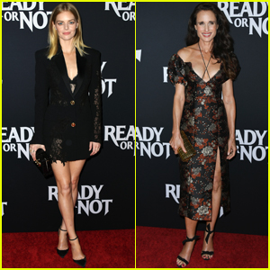 Samara Weaving & Andie MacDowell Arrive in Style for 'Ready or Not' Premiere