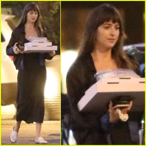 Dakota Johnson Picks Up Pizza for Dinner in Malibu