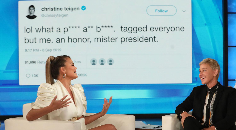 Chrissy Teigen Tells Ellen the Story Behind Her Trump Feud