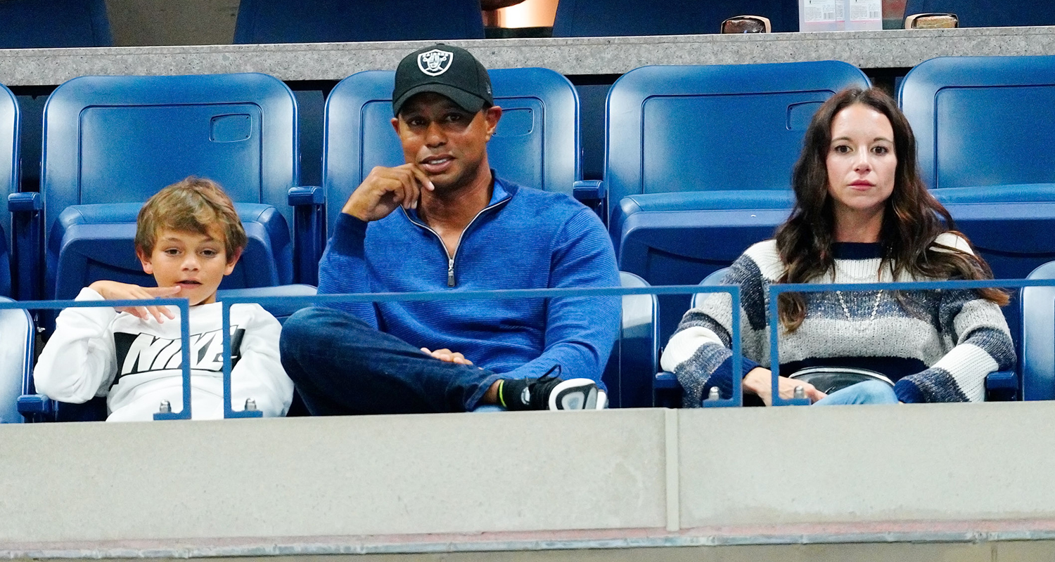 tiger woods cheers on rafael nadal at us open with kids