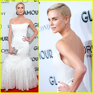 Charlize Theron Stuns in White While Being Honored at Glamour Women of the Year Awards