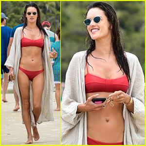 Alessandra Ambrosio Rocks Red Bikini for Brazil Beach Day