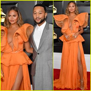 Chrissy Teigen Wows in Orange at Grammys 2020 with John Legend