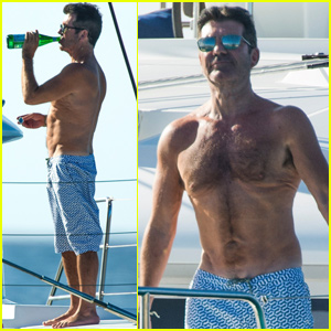 Simon Cowell Shows Off His Abs While Vacationing In Barbados Shirtless Simon Cowell Just Jared