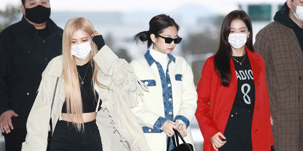 BLACKPINK's Jennie, Rose & Jisoo Travel Together in Style at the Airport in South Korea