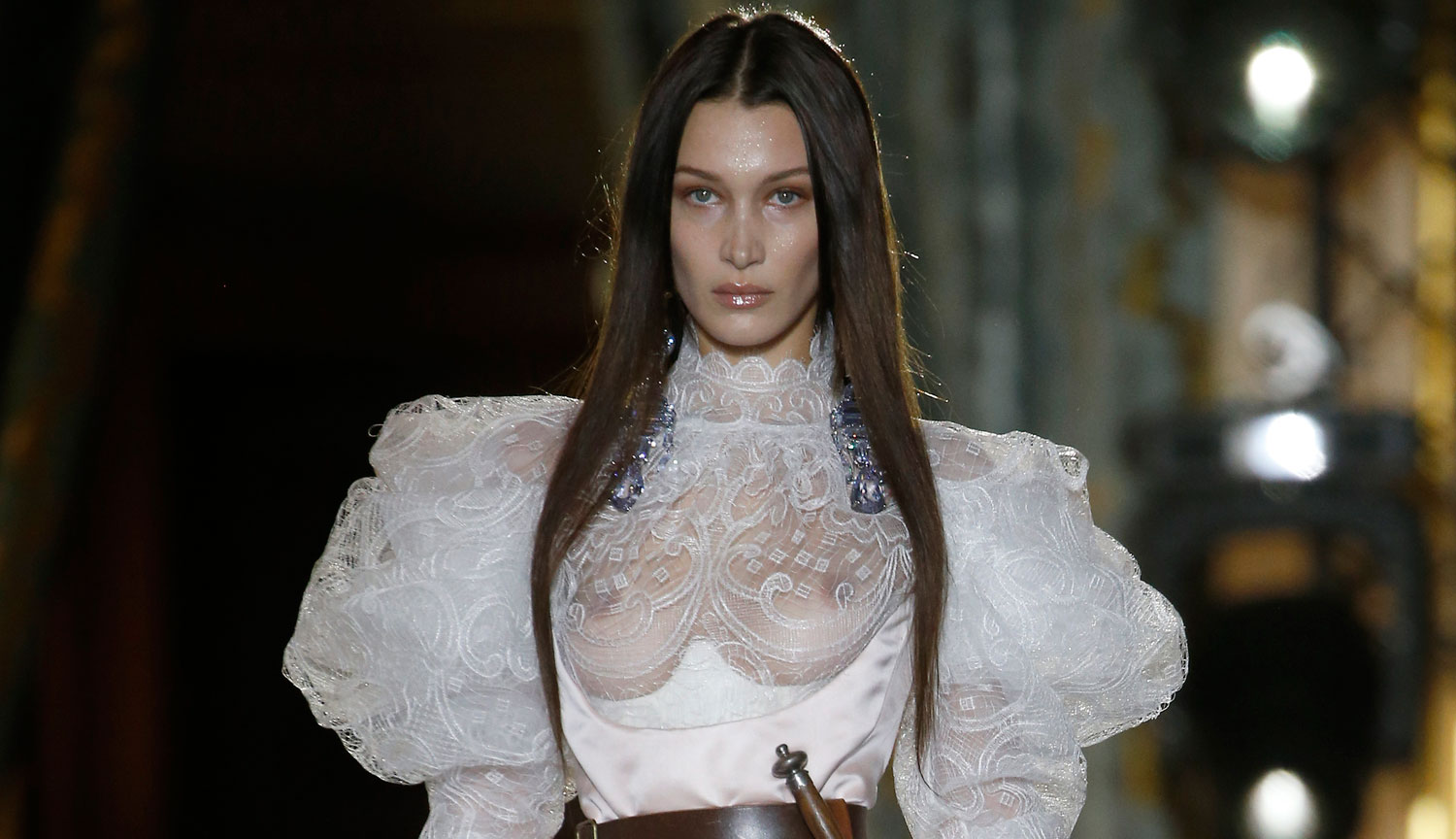 Bella Hadid Wears Sheer Dress with a Dagger for Vivienne Westwood's Paris Runway Show