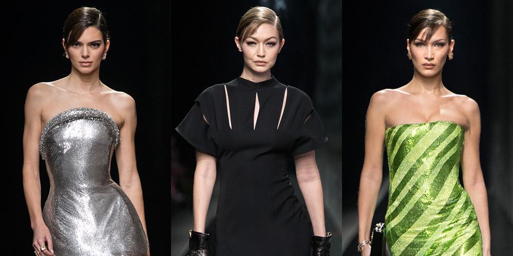 Kendall Jenner, Hadid Sisters, & More Top Models Walk in Versace's Milan Show
