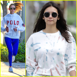 Nina Dobrev Wears Polo Hoodie While Out on a Late Night Run